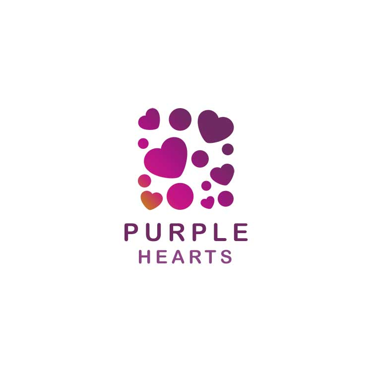 Purple Hearts Logo Design